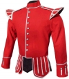 GPC-1050. Pipe Band Doublets Red 100% Melton wool body, White piping trim, 8 button front closure, Black nylon / silk blend full lining, 2 inch stand up collar, 28 removable medium silver thistle buttons,