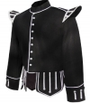 GPC-1050B. Piper Doublet, Black 100% Melton wool body White piping trim 8 button front closure Black nylon / silk blend full lining 2 inch standup collar 28 removable medium silver thistle buttons