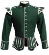 GPC-1053.  Military Pipe Band Doublet, Green 100% Melton wool body * White piping * 8 button front closure * Silver braid trim * Black nylon / silk blend full lining * Padded shoulders