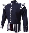 GPC-1054. Pipe Band Doublet Navy Blue 100% Melton wool body, White piping trim, 8 button front closure, Black nylon / silk blend full lining, 2 inch standup collar, 26 large silver thistle buttons,