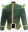 GPC-1054A. Military Pipe Band Doublet, Green 100% Melton wool body * White piping * 8 button front closure * Gold braid trim * Black nylon / silk blend full lining * Padded shoulders