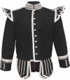 GPC-1054B. Pipe Band Doublet, Black 100% Melton wool body White piping 8 button front closure Silver braid trim Scrolling silver trim on collar, cuffs