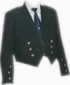 GPC-1056    Prince Charlie Jacket, Black Wool, with a single button on the front, two side vents, cuffs with 3 buttons, pocket flaps with 3 buttons, custom sizes available. Diamond Shape Thistle Button.