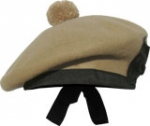 Highland Balmoral,  Khaki color,  black pom pom, any Size.