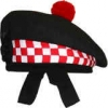 GPC-1073/n. Highland Balmorals, Black Color, red & white dicing  with red or white pom pom, any size