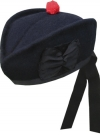 GPC-1074. Highland Glengarry Plain, NAVY BLUE color, with red or black pom pom,  any size.