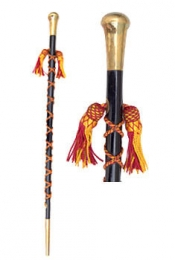 GPC-1098. Parade Stick made up of pure Malacca cane wrapped up in a silk cord and covered on both sides by Chrome Plated Head (Plain) and Base. Length: 36