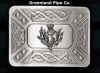 Made from chrome with an antique finish, zoomorphic design and thistle insert