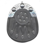 Sporran is made of genuine leather ( black ), nickel plated brass cantle with Celtic design, and studded shield design on the front.