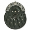Sporran is made of genuine leather (black), nickel plated brass cantle with Celtic design, and studded shield design on the front.  Chain sporran belt included.