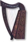 GPC-2116. Mini Harp,  made of well eaged dark engraved Sheesham/Rosewood, lacquered finish, equipped with 09 nylon/wire strings, 15 inches, complete with carrying case and Tuning Key.