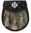 Grey Cowhide Body with 3 tassels * Front flap with mounted thistle and inverted V embossing & studs