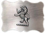 Plain buckle made from antique chrome with a lion emblem