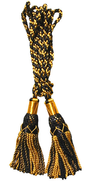 Bagpipe Silky Cords, Black/Gold, 100% silky hand made,