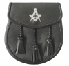 Masonic Sporran Good Quality Smooth leather  Opens with a stud and flap at the front 3 leather tassels