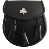Irish Shamrock Sporran Good Quality Smooth leather Opens with a stud and flap at the front 3 leather tassels
