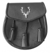 Stag Head Sporran Good Quality Smooth leather  Opens with a stud and flap at the front 3 leather tassels
