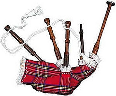 Toy or Dummy Bagpipe, with functional Chanter, & Plastic Chanter Sole dressed in Royal Stewart tartan cover and woolen cord