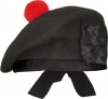 Highland Balmorals, Plain, Black Color, with red or black pom pom, any size.