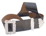 GPC-1082.     Cross Belt, Piper, black leather, thistle design buckle