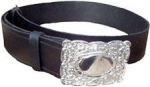 GPC-1084.  Piper or Drummer Waist Belt, black  leather, thistle design buckle, any size.